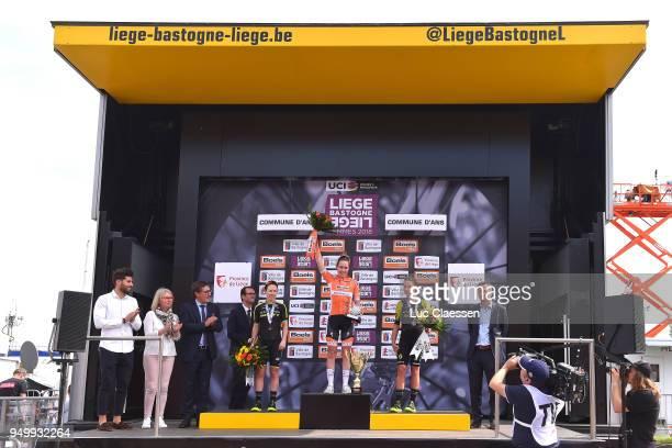 Podium / Anna van der Breggen of The Netherlands and Boels Dolmans Cycling Team / Amanda Spratt of Australia and Team MitcheltonScott / Annemiek van...