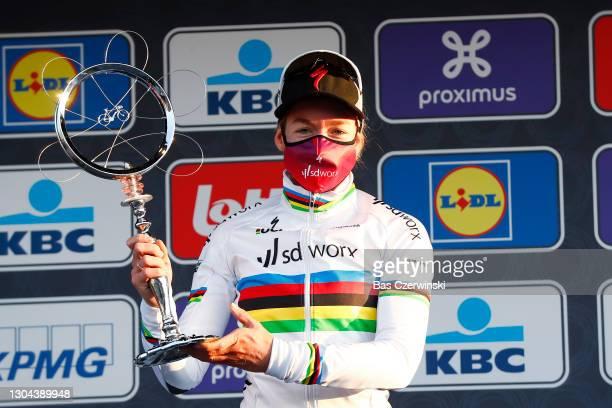 Podium / Anna Van Der Breggen of The Netherlands and Team SDWorx Celebration, during the 16th Omloop Het Nieuwsblad 2021, Women's Race a 124,4km race...