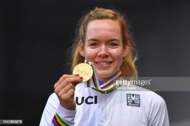 Podium / Anna Van Der Breggen of The Netherlands Gold Medal / Celebration / during the Women Elite Road Race a 1562km race from Kufstein to Innsbruck...