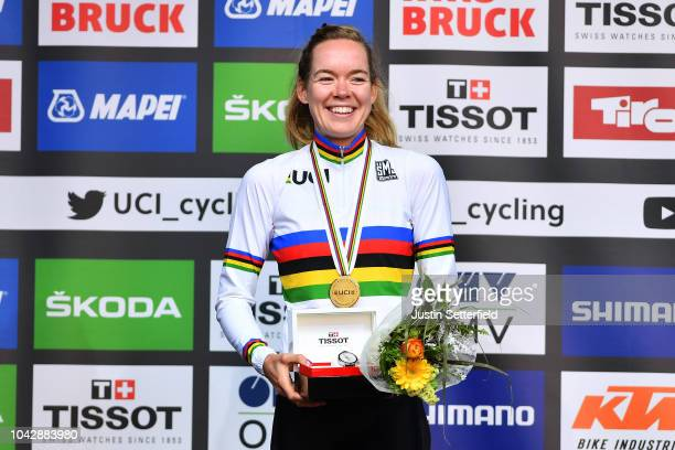 Podium / Anna Van Der Breggen of The Netherlands Gold Medal / Celebration / during the Women Elite Road Race a 156,2km race from Kufstein to...