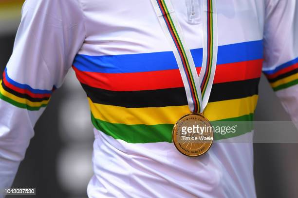 Podium / Anna Van Der Breggen of The Netherlands Gold Medal / Celebration / Detail view / during the Women Elite Road Race a 156,2km race from...