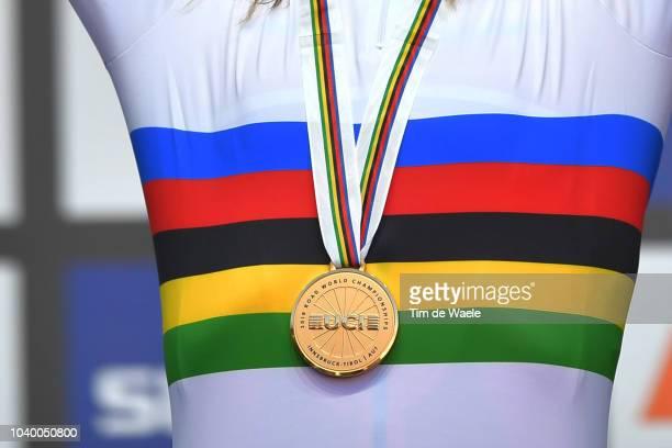Podium / Anna Van Der Breggen of The Netherlands Silver Medal / Annemiek Van Vleuten of The Netherlands Gold Medal / Ellen Van Dijk of The...