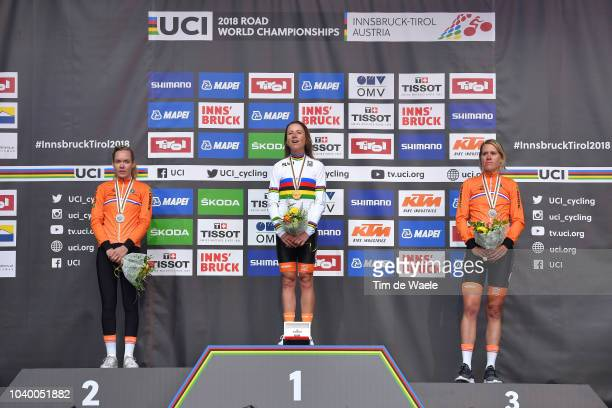 Podium / Anna Van Der Breggen of The Netherlands Silver Medal / Annemiek Van Vleuten of The Netherlands Gold Medal / Ellen Van Dijk of The...