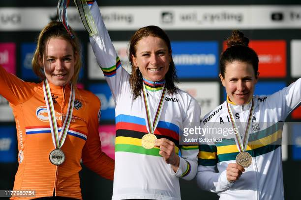 Podium / Anna Van Der Breggen of The Netherlands Silver medal / Annemiek Van Vleuten of The Netherlands Gold medal / Amanda Spratt of Australia...