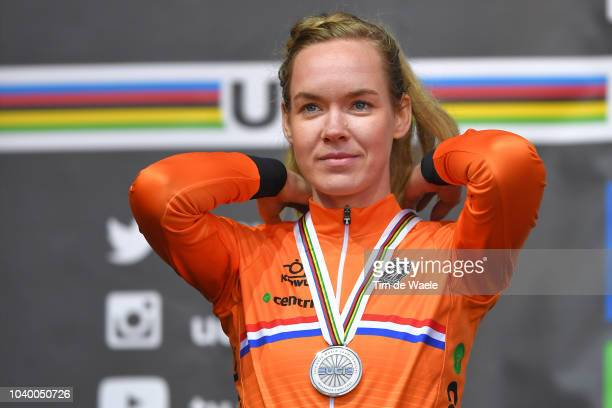Podium / Anna Van Der Breggen of The Netherlands Silver Medal / Celebration / during the Women Elite Individual Time Trial a 278km race from Wattens...