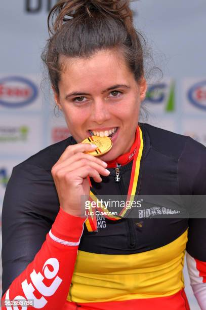 Podium / Annelies Dom of Belgium and Lotto Soudal Ladies Gold Medal / Celebration / during the 119th Belgian Road Championship 2018, Elite Women a...