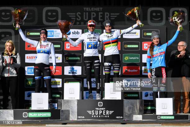 Podium / Annemarie Worst of The Netherlands and Team Steylaerts - 777 European Champion Jersey U23 / Ceylin Del Carmen Alvarado of The Netherlands...