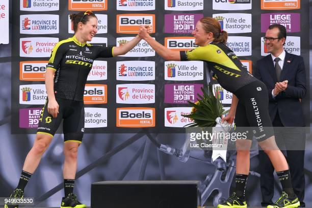 Podium / Annemiek van Vleuten of The Netherlands and Team MitcheltonScott / Amanda Spratt of Australia and Team MitcheltonScott / Celebration /...