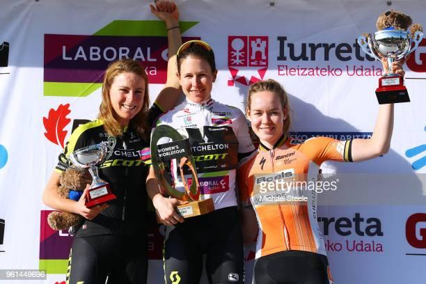 Podium / Annemiek van Vleuten of The Netherlands and Team Mitchelton-Scott / Amanda Spratt of Australia and Team Mitchelton-Scott White Leader Jersey...