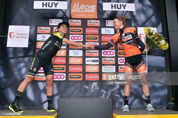 Podium / Annemiek van Vleuten of The Netherlands and Team Mitchelton-Scott / Annika Langvad of Denmark and Boels Dolmans Cycling Team Bronze medal /...