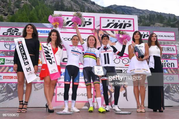 Podium / Annemiek van Vleuten of The Netherlands and Team Mitchelton-Scott / Ashleigh Moolman Pasio of South Africa and Cervelo-Bigla Pro Cycling...
