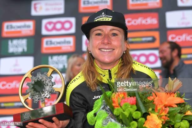 Podium / Annemiek Van Vleuten of The Netherlands and Team Mitchelton-Scott / Celebration / Trophy / Flowers / during the 3rd Liège - Bastogne - Liège...