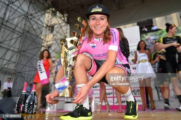 Podium / Annemiek Van Vleuten of The Netherlands and Team Mitchelton Scott Pink Leader Jersey / Celebration / Trophy / during the 30th Tour of Italy...