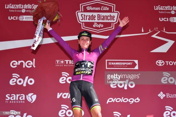 Podium / Annemiek Van Vleuten of The Netherlands and Team Mitchelton Scott UCI Leader Jersey / Celebration / Flowers / during the Eroica - 6th Strade...