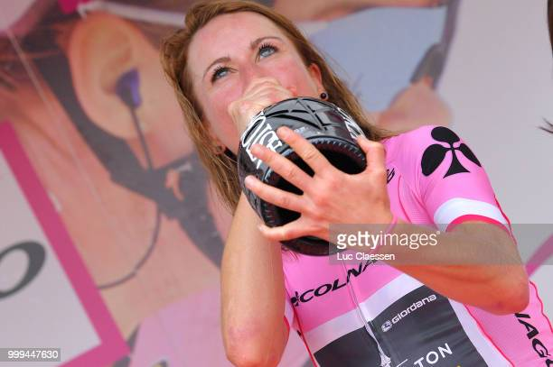 Podium / Annemiek van Vleuten of The Netherlands and Team Mitchelton-Scott Pink Leader Jersey / Celebration / Champagne / during the 29th Tour of...