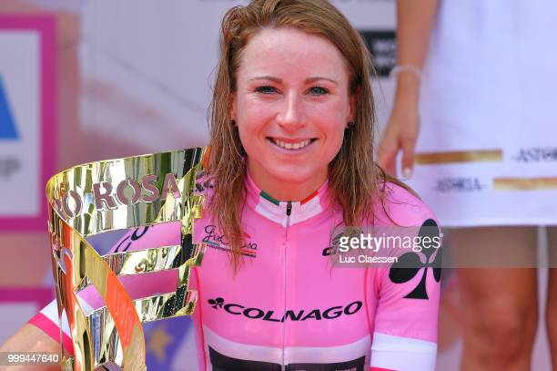Podium / Annemiek van Vleuten of The Netherlands and Team MitcheltonScott Pink Leader Jersey / Celebration / Trophy / during the 29th Tour of Italy...
