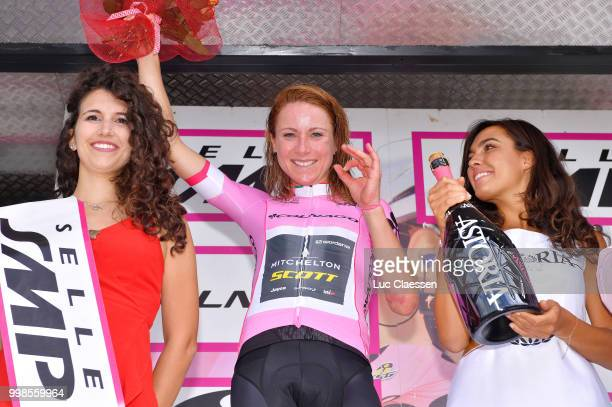 Podium / Annemiek van Vleuten of The Netherlands and Team Mitchelton-Scott Pink leaders jersey Celebration Champagne / during the 29th Tour of Italy...