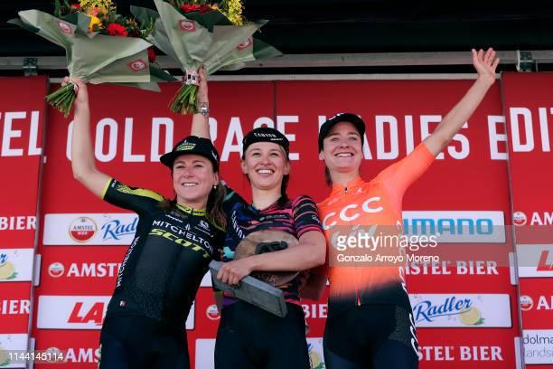 Podium / Annemiek van Vleuten of The Netherlands and Team Mitchelton-Scott Women / Katarzyna Niewiadoma of Poland and Canyon-SRAM Racing Team /...