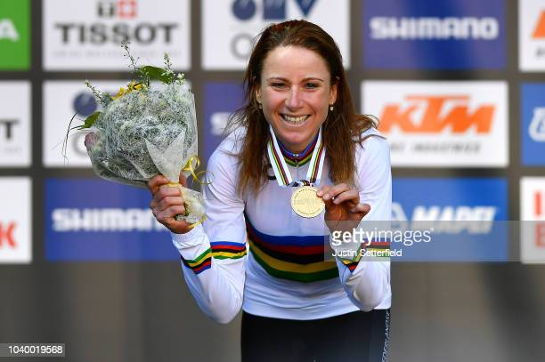 Podium / Annemiek Van Vleuten of The Netherlands Gold Medal / Celebration / during the Women Elite Individual Time Trial a 27,8km race from Wattens...