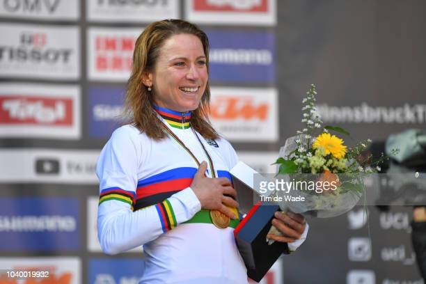 Podium / Annemiek Van Vleuten of The Netherlands Gold Medal / Celebration / during the Women Elite Individual Time Trial a 278km race from Wattens to...