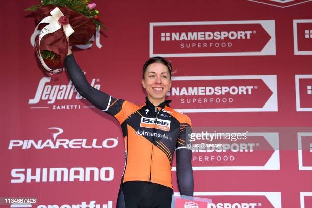 Podium / Annika Langvad of Denmark and Boels Dolmans Cyclingteam / Celebration / Flowers / during the 5th Strade Bianche 2019, Women a 136km race...