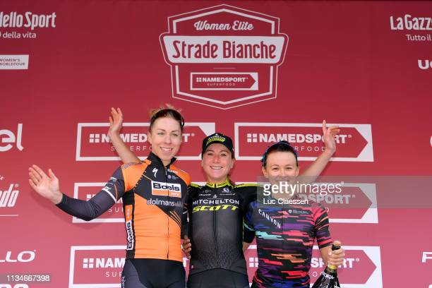 Podium / Annika Langvad of Denmark and Boels Dolmans Cyclingteam / Annemiek van Vleuten of The Netherlands and Team Mitchelton - Scott / Katarzyna...