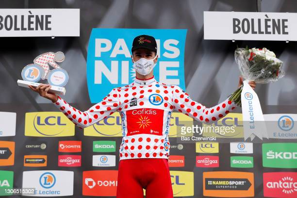 Podium / Anthony Perez of France and Team Cofidis Polka Dot Mountain Jersey Celebration, during the 79th Paris - Nice 2021, Stage 5 a 200km stage...