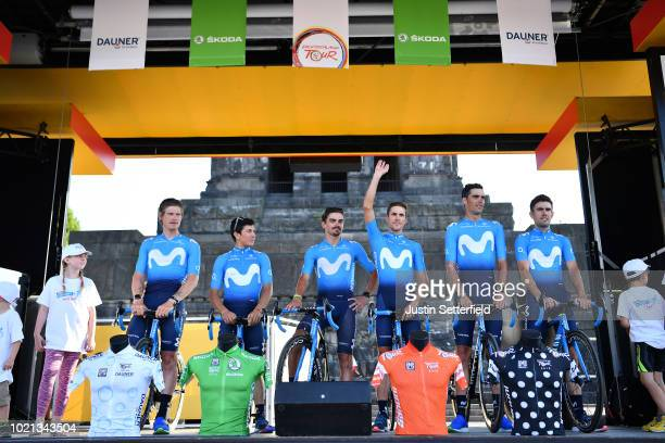 Podium / Antonio Pedrero of Spain and Movistar Team / Jorge Arcas of Spain and Movistar Team / Ruben Fernandez of Spain and Movistar Team / Nuno Bico...