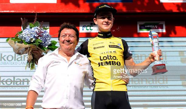 Podium / Antwan Tolhoek of The Netherlands and Team LottoNL Jumbo Best Young Rider / during the 38th Clasica de San Sebastian 2018 a 2287km race from...