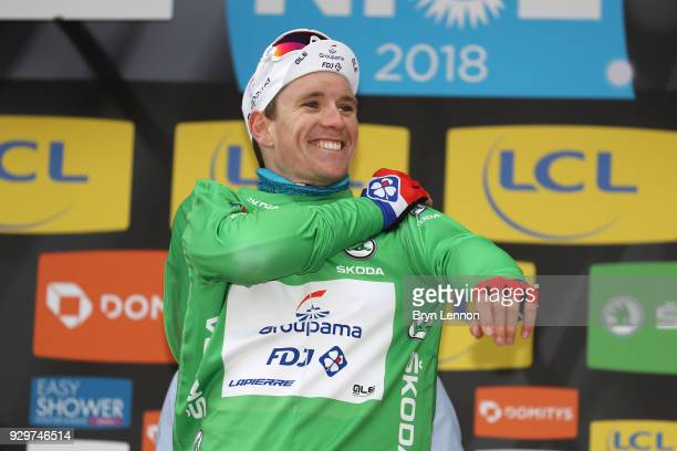 Podium / Arnaud Demare of France and GroupamaFDJ Green Points Jersey / Stage 6 of the 76th Paris Nice 2018 a 198km stage from Sisteron to Vence 331m...
