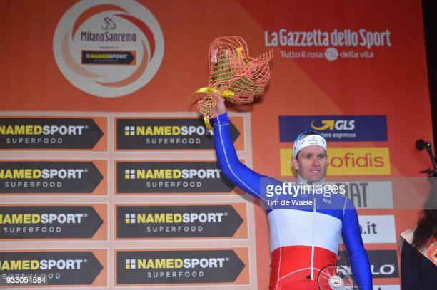 Podium / Arnaud Demare of France and Team Groupama - FDJ / Celebration / during the 109th Milan-Sanremo 2018 a 291km race from Milan to Sanremo on...