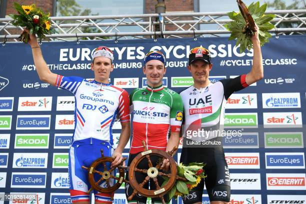 Podium / Arnaud Demare of France and Team Groupama FDJ / Elia Viviani of Italy and Team Quick Step Floors / Alexander Kristoff of Norway and UAE Team...