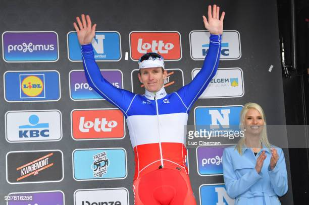 Podium / Arnaud Demare of France Celebration / during the 80th GentWevelgem In Flanders Fields 2018 a 2508km race from Deinze to Wevelgem on March 25...