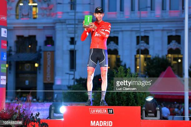 Podium / Bauke Mollema of The Netherlands and Team Trek Segafredo / Most Combative Rider / Celebration / Madrid Town Hall / Plaza Cibeles / during...