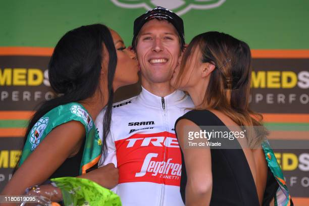 Podium / Bauke Mollema of The Netherlands and Team TrekSegafredo / Celebration / Miss / Hostess / during the 113th Il Lombardia 2019 a 243km race...