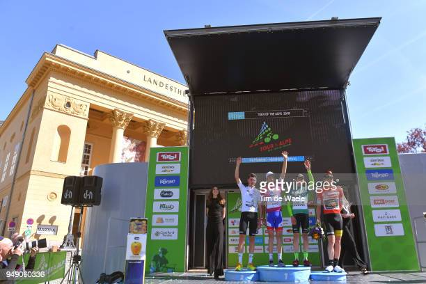 Podium / Ben O Connor of Australia and Team Dimension Data White Young Jersey / Thibaut Pinot of France and Team Groupama FDJ Purple Leaders Jersey /...