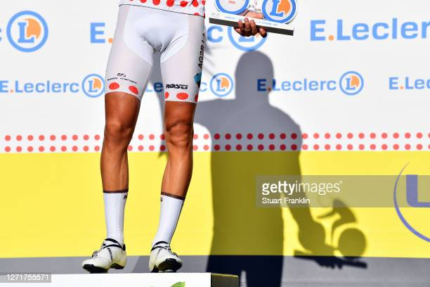 Podium / Benoit Cosnefroy of France and Team Ag2R La Mondiale Polka Dot Mountain Jersey / Celebration / Trophy / Shadow / Detail view / during the...
