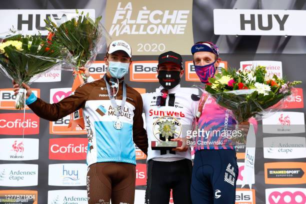 Podium / Benoit Cosnefroy of France and Team AG2R La Mondiale Silver medal / Marc Hirschi of Switzerland and Team Sunweb / Michael Woods of Canada...