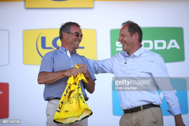 Podium / Bernard Hinault of France PR ASO / Christian Prudhomme of France TDF Director ASO / Yellow Leader Jersey Anniversary 1978 during 105th Tour...