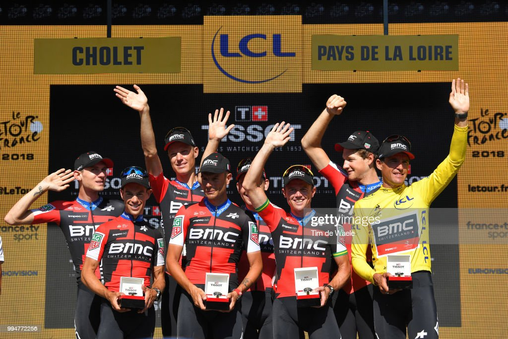 Podium / Best Team BMC Racing Team / Richie Porte of Australia and BMC Racing Team / Patrick Bevin of New Zealand and BMC Racing Team / Damiano Caruso of Italy and BMC Racing Team / Simon Gerrans of Australia and BMC Racing Team / Jaime Castrillo of Spainand BMC Racing Team / Michael Schar of Switzerland and BMC Racing Team / Greg Van Avermaet of Belgium and BMC Racing Team Yellow Leaders Jersey / Tejay Van Garderen of The United States and BMC Racing Team / Celebration / during the 105th Tour de France 2018, Stage 3 a 35,5km Team time trial stage / TTT / from Cholet to Cholet / TDF / on July 9, 2018 in Cholet, France.