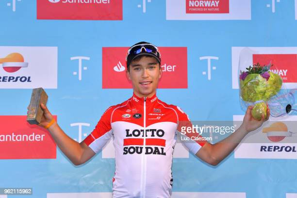 Podium / Bjorg Lambrecht of Belgium and Team Lotto Soudal / Celebration / during the 11th Tour des Fjords 2018 Stage 3 a 183km stage from Farsud to...