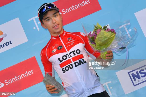 Podium / Bjorg Lambrecht of Belgium and Team Lotto Soudal / Celebration / during the 11th Tour des Fjords 2018 Stage 3 a 183km stage from Farsund to...