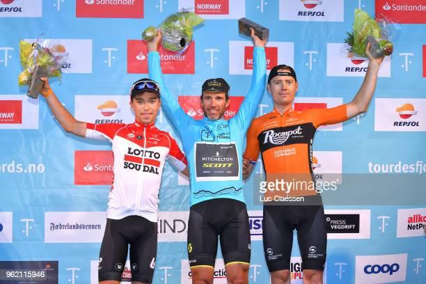 Podium / Bjorg Lambrecht of Belgium and Team Lotto Soudal / Michael Albasini of Switzerland and Team MitcheltonScott Blue Leader Jersey / Pim...