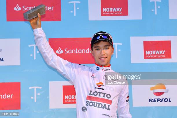 Podium / Bjorg Lambrecht of Belgium and Team Lotto Soudal White Best Young Jersey / Celebration / during the 11th Tour des Fjords 2018 Stage 3 a...