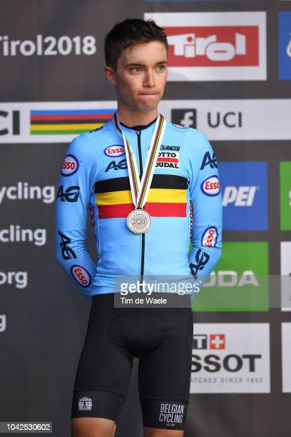 Podium / Bjorg Lambrecht of Belgium Silver Medal / Celebration / during the Men Under 23 Road Race a 1799km race from Kufstein to Innsbruck 582m at...