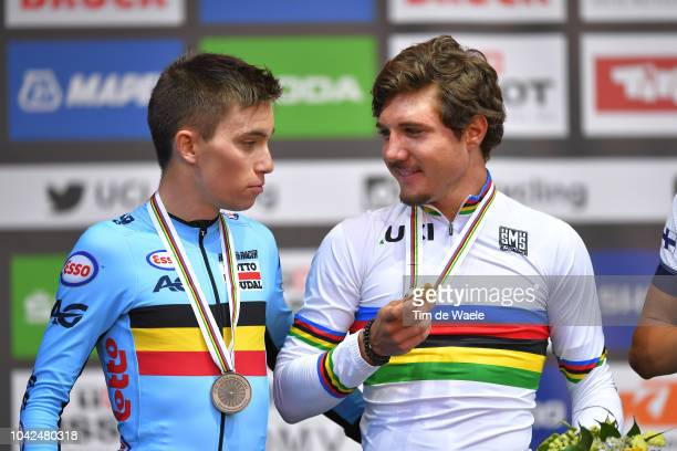 Podium / Bjorg Lambrecht of Belgium Silver Medal / Marc Hirschi of Switzerland Gold Medal / Celebration / during the Men Under 23 Road Race a 1799km...