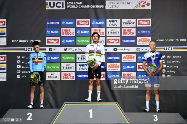 Podium / Bjorg Lambrecht of Belgium Silver Medal / Marc Hirschi of Switzerland Gold Medal / Jaakko Hanninen of Finland Bronze Medal / Celebration /...
