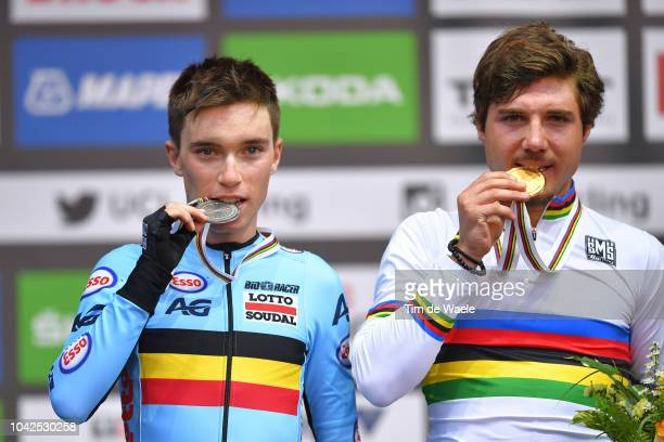 Podium / Bjorg Lambrecht of Belgium Silver Medal / Marc Hirschi of Switzerland Gold Medal / Celebration / during the Men Under 23 Road Race a 1799km...