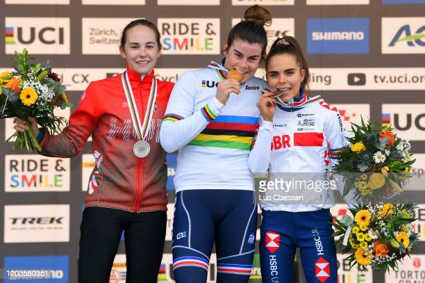 Podium / Blanka Vas Kata of Hungary Silver medal / Marion Norbert Riberolle of France World Champion Jersey Gold medal / Anna Kay of Great Britain...