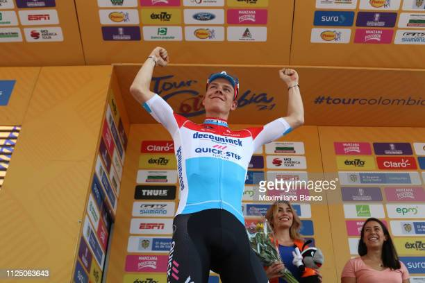 Podium / Bob Jungels of Luxembourg and DeceuninckQuickstep Team / Celebration / during the 2nd Tour of Colombia 2019 Stage 4 a 1444km race from...